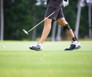 PLS AFO used to help support golfer's ankle