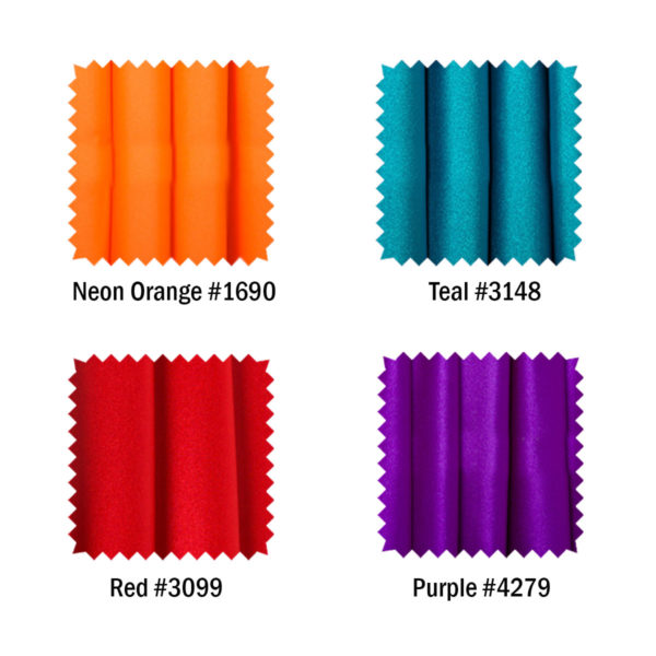 Neon Orange, Teal, Red and Purple color fabric