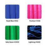 Royal Blue, Fuchsia, Green and Lightning print finishes
