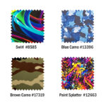 Swirl, Camo and Paint Splatter color finishes
